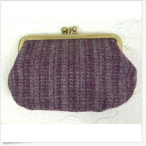 Vtg 60s Coin Purse Wool Tweed Lavender Purple